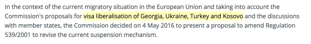 visa liberalisation of Georgia, Ukraine, Turkey and Kosovo